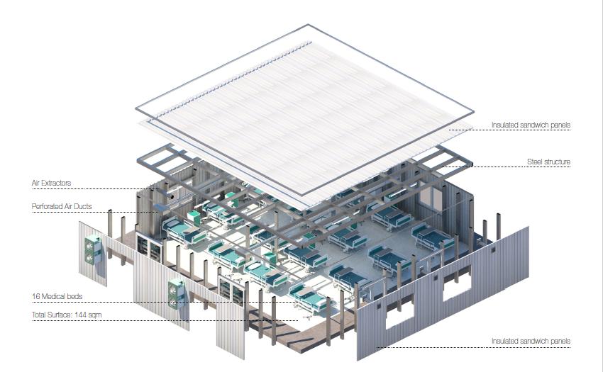 Evo Hospital è un modulo prefabbricato di 144 mq progettato per rispondere alla necessità di incrementare spazio per i posti letto in situazioni di emergenza come il #COVID19.
